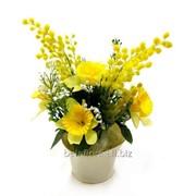 """Композиция из искусственных цветов """"Нарцисс с мимозой"""" БФ40018 фото"""