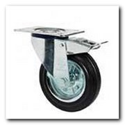 Колесо поворотное Norma с крепёжной панелью и тормозом 3104-N-080-R резиновое фото