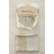 Комплект для девочки (шапка + хомут) молочного цвета Дембохауз Д16-85Мл З фото