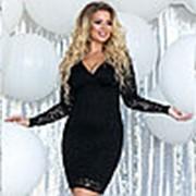 Гипюровое платье женское с V-образным вырезом (7 цветов) - Черный ТК/-1131 фото