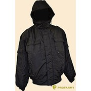 Куртка зимняя без воротника оксфорд черная фото