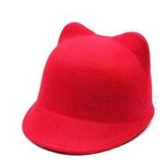 Шляпка с ушками (красная) фото