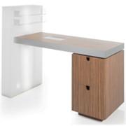 GLOSS Стол для маникюра (Artecno, Италия). Столешница и тумба - дерево. Боковая панель с подсветкой. фото