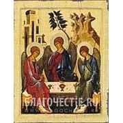 Мастерская копий икон Святая Троица (Троица Ветхозаветная), копия старинной иконы (ручная работа) Высота иконы 12 см фото
