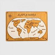Пазл деревянный Карта мира темная рамка русский язык фото