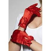 Атласные перчатки с бантом фото