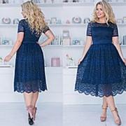 Гипюровое платье женское миди (8 цветов) - Темно-синий ТК/-2105 фото