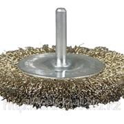 Щетка Stayer дисковая 2-рядная для дрели, сплет стальн зак проволока 0,5мм, 75мм Код:3522-075-2 фото
