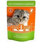 Консервированный корм для котов Клуб 4 Лапы рагу с кроликом и индейкой 100 грамм фото