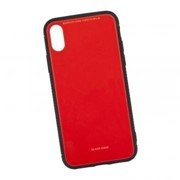 Защитная крышка «LP» для iPhone X/Xs «Glass Case» (красное стекло/коробка) фото