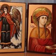 Складень на две иконы. Святая равноапостольная царица Елена и Святой Ангел Хранитель фото