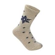 Носки взрослые 100% овечья шерсть ДЕМИСИЗОННЫЕ (тонкие), цвет белые со снежинкой фото
