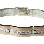 Серебренный браслет с золотыми вставками №140 фото