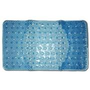Коврик резиновый массажный 66х39 (BR-6639) для ванной на присосках, голубой фото