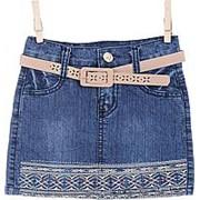 Красивая джинсовая юбка с узором 1 фото