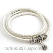 Женский белый плетеный кожаный браслет Pandora фото