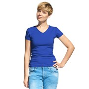 Женская футболка-стрейч с V-воротом StanVictoryWomen 07W Синий XL/50 фото