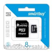 Micro SDHC карта памяти Smartbuy 8GB Сlass 4 с адаптером SD фото