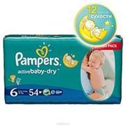 Подгузники Pampers activebaby-dry 6 (15+кг), 54шт фото