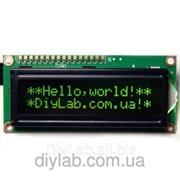 LCD 1602 HD44780 зелені символи, чорний фон фото