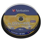 Диск DVD+RW Verbatim 4.7Gb 4x CakeBox 10 шт silver (43488) фото