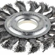 Щетка Stayer дисковая для УШМ, сплет в пучки стальн зак провол 0,5мм, 115мм/М14 Код:35192-115 фото
