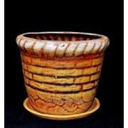"""Горшок для цветов из керамики ручной работы """"Корзина малая"""" фото"""