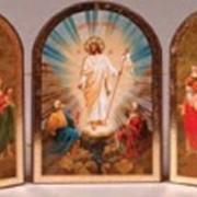 Иконы Рождественские и Пасхальные, триптих, дерево, печать фото