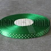 Лента атласная зеленая с горохом 1 см 50 м 4230 фото