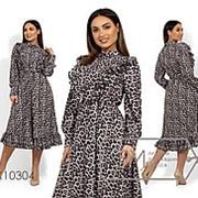 Платье женское леопардовое из софта с рюшами вдоль лифа и съемным поясом (2 цвета) - Черный НВ/-715890/1 фото