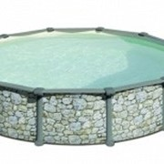 Бассейн круглый серии PR имитация камня Д460Х132СМ в комплекте с форсункой и скиммером фото