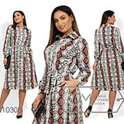 Платье женское под пояс с змеиным принтом и прорезными карманами (3 цвета) - Белый НВ/-718041/1 фото