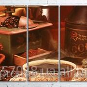 Модульна картина на полотні Кава та зерна код КМ100200(200)-012 фото
