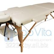 Складной массажный стол деревянный ErgoVita CLASSIC (2-х секционный, кремовый) фото