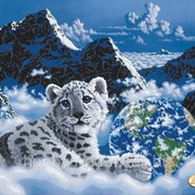 """Рисунок на ткани для вышивания бисером """"Снежный барс"""" ТА-068 фото"""