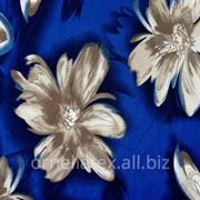 Креп костюмный супер стрейч принт S16354 синий фон бежево-коричневые цветы фото