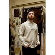 Льняная вышитая рубашка с нетрадиционным стильным орнаментом для мужчин (Б-4840) фото