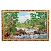 "Картина ""Медвежья рыбалка"" багет 68х108 см К189 фото"
