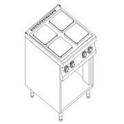 Плита электрическая 4-х Kogast конфорочная с открытой базой ESK-T49/P фото
