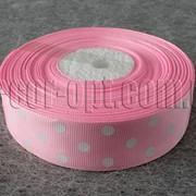 Лента репсовая розовая с горохом 2,5 см 25 ярд 4081 фото