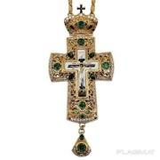 Крест для священнослужителя из ювелирного сплава позолоченный с принтом и цепью 2.10.0143лп-2-73лп фото