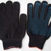Перчатки рабочие 7,5 класс (6 нитей) с ПВХ, белые, черные фото