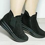 Ботинки женские черные из натуральной кожи на толстой подошве фото