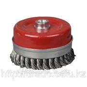 Щетка Stayer чашечная для УШМ, закал сплет сталь провол 0,5мм с бандаж,120мм/М14 Код:3527-120 фото