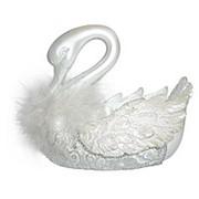 Сувенир Лебедь серебрянный с пухом 12см фото