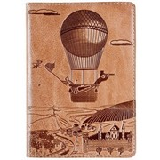 Кожаная обложка для прав Turtle passport cover, art adventure бежевая. фото