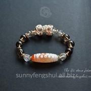 Браслет 21-глазый дзи тибетский, исполнение желаний, серебро, раухтопаз фото