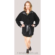 Чёрное пальто из шерсти с кожей на кнопках фото