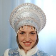 Кокошник Снегурочка-боярыня голубой фото