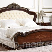 Двуспальная кровать МиК Кровать Аманда FF6095 n003706, цвет Темный орех с золотом, длина 200 см., ширина 180 см., обивка Искусственная кожа, MK 27 фото